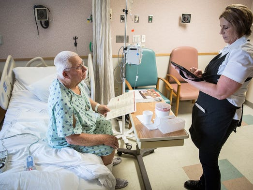 Patient Marion Clawson orders food through IU Health