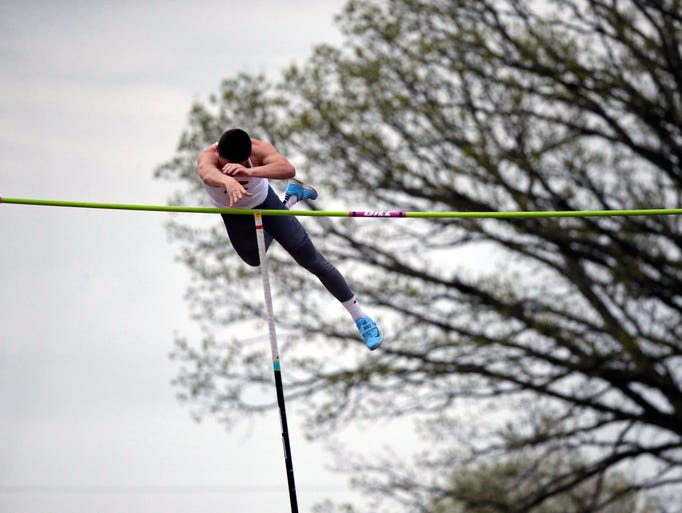 Myles Laurent of Kimberly wins the Pole Vault as the