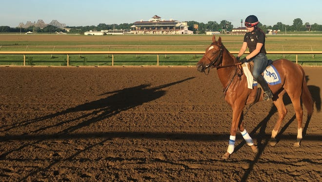 Waki Patriot will race in Thursday's Park's $150,000 Astoria for 2-year-old fillies at Belmont Park. Exercise rider Savannah Goeble works out the John Hancock-trained filly at Ellis Park.