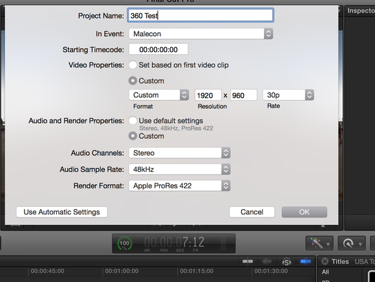 Selecting custom setting in Apple's Final Cut Pro software