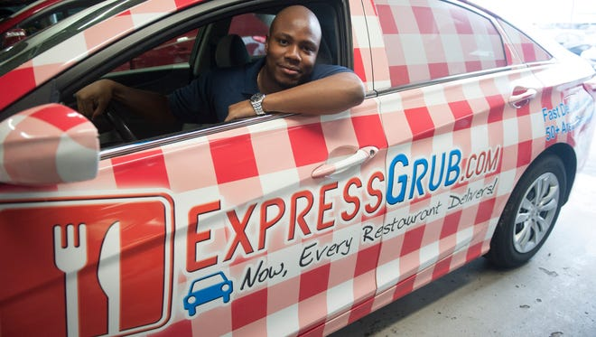 Mohommad Oloko, CEO of Express Grub, a local food delivery service that is now delivering more than just food. Tuesday, February 23, 2016.