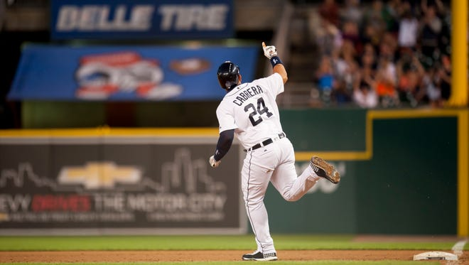 Detroit first baseman Miguel Cabrera celebrates his home run in the fifth inning.