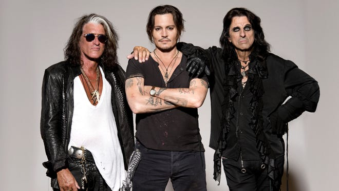 Hollywood Vampires with (from left) Joe Perry, Johnny Depp and Alice Cooper.