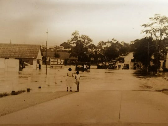 A photo from 1933 of a flood shows Tony's on Market in an earlier time.
