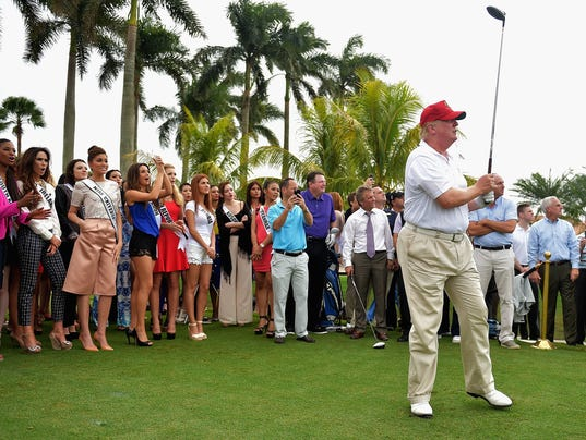 Donald Trump attends the opening of Red Tiger Golf Course at Trump ...