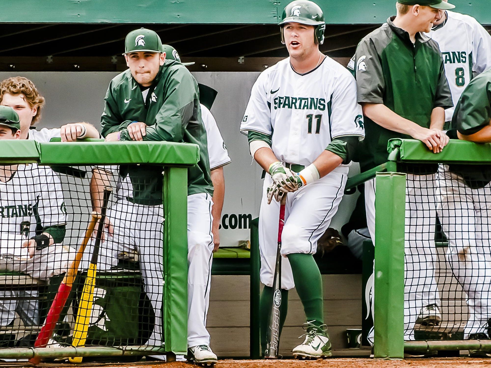 Blaise Salter (11) hit a career low .268 for MSU during his senior season this spring. A third-team All-America pick as a junior, Salter finished his career with a .308 batting average, 19 homers, 139 RBIs and a school record 55 doubles.