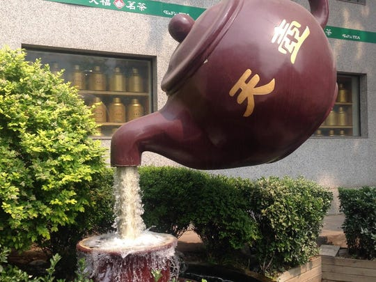 A teapot fountain outside a China tea shop spotted by Colleen and Pat Cannon of Livonia on their travels.