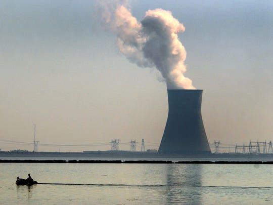 The Hope Creek nuclear reactor cooling tower. The reactors at Salem 1 and 2 draw water from the Delaware River to cool turbines.
