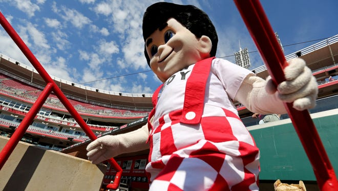 Big Boy makes his entrance at the Great American Ball Park for a mascot T-ball game.