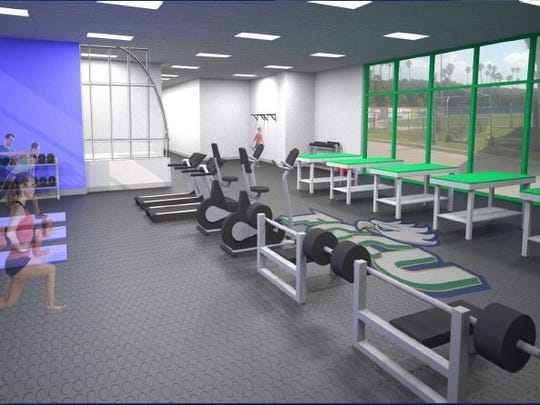 A rendering of Alico Arena's enlarged and enhanced sports medicine area, slated to begin construction in November 2016.