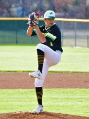 Dublin pitcher Tim Teten delivers a pitch during a