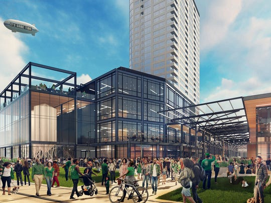 Earlier plans for an entertainment center just east of the future Milwaukee Bucks arena show a glassy structure with up to four levels and fermentation tanks for a craft brewer.