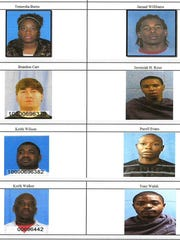 """Some of the arrestees in Vicksburg's """"Operation Long Time Coming."""""""