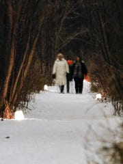 The Woodland Dunes Nature Center hosted its annual candlelight hike on Feb. 4, 2017 in Two Rivers, Wis.