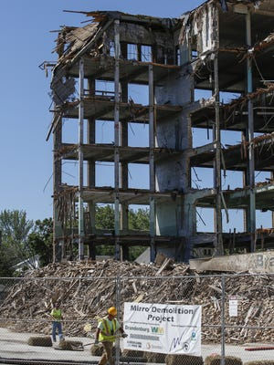 A skeleton frame was all that remained of the Mirro building section on the corner of Washington Street and 15th Street July 27 in Manitowoc.