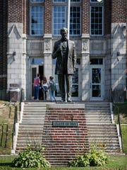 A statue of Lincoln, a later addition made in 1961, stands outside the main entrance to the high school Thursday, Sep. 14, 2017, in Manitowoc, Wis. Josh Clark/USA TODAY NETWORK-Wisconsin
