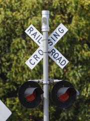 A railroad crossing signal at the Meadow Lane railroad crossing near Henry Schuette Park Oct. 3 in Manitowoc.