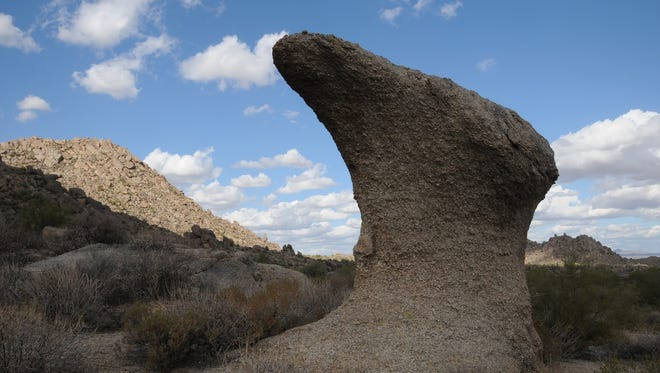 """A """"mushroom"""" rock along the Marcus Landslide Trail in the McDowell Sonoran Preserve."""