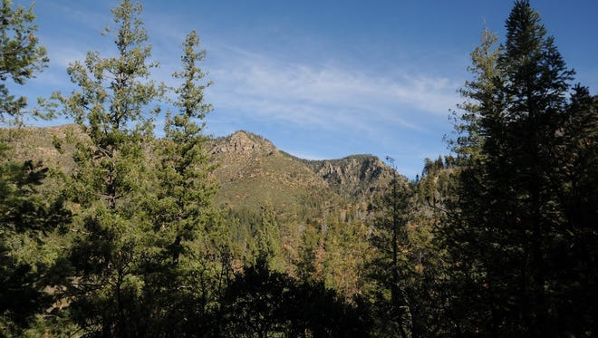 Sustainable new alignments of the Highline Trail frame big views of Mogollon Rim country.