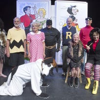 """Members of the Sage Productions performance of """"See You in the Funny Papers,"""" a musical comedy, prepare for their upcoming show. From left are Jim Page as Alley-Oop, Doug McCall as Charlie Brown, Pat Klos as Sally, Phil Rowan as Snoopy, Bill Brezina as Batman, Dennis Tanner as Archie, Donna Kujat as a member of the Annie chorus, Jim Parker as Jughead and Vivian Lemon as Mammy Yokum."""