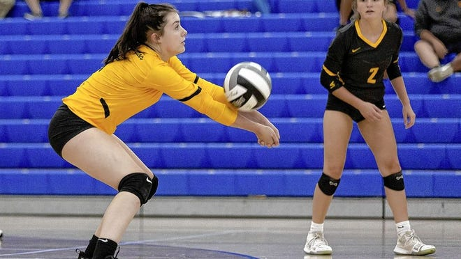 Libero/defensive specialist Hannah Sprouse (left) is among four seniors leading the way for the Upper Arlington girls volleyball team and sxith-year coach Chris Van Arsdale.