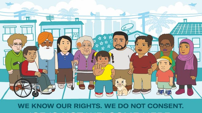A poster that artist Audrey Chan created for the ACLU of Southern California