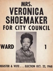 Campaign poster for Veronica Shoemaker, Fort Myers city council, ward 1, election Oct. 22, 1968