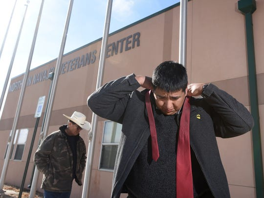 """""""We're not just focusing on the veteran, we're focusing on the veteran's family,"""" says Robertson Yazzie Jr. on Tuesday outside the Northern Navajo Veterans Center in Shiprock."""