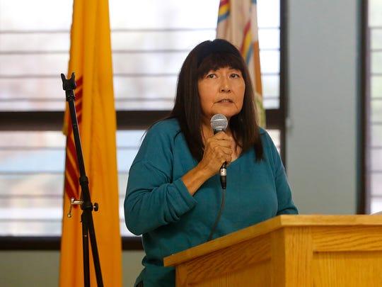 Tsé Daa K'aan Chapter resident Wanda Benally talks about how the Gold King Mine spill affected her farm on Wednesday during a meeting at the Shiprock Chapter house.