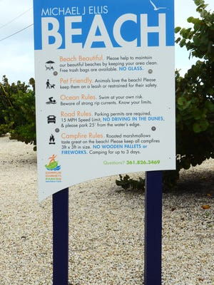 The city posted new beach signs, including this one at Michael J. Ellis Beach. They stem from a project by the city''s Parks and Recreation Department, the city''s Watershore and Beach Advisory Committee and the Corpus Christi Convention and Visitors Bureau to create uniform and comprehensive signage at city beaches.