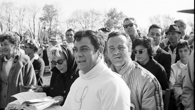 Actors Tony Curtis, left and Jack Lemon, are seen on the set of The Great Race, part of which was filmed in Frankfort, Ky.  Curtis played the role of The Great Leslie, Lemon; Professor Fate. Oct 30, 1964