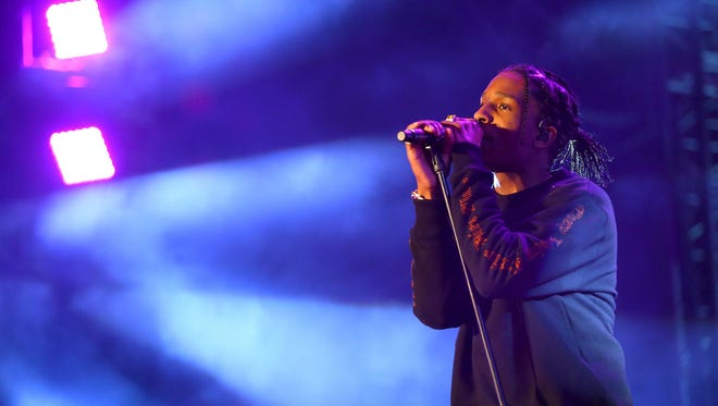 A$AP Rocky performs during the Coachella Valley Music and Arts Festival at the Empire Polo Club.
