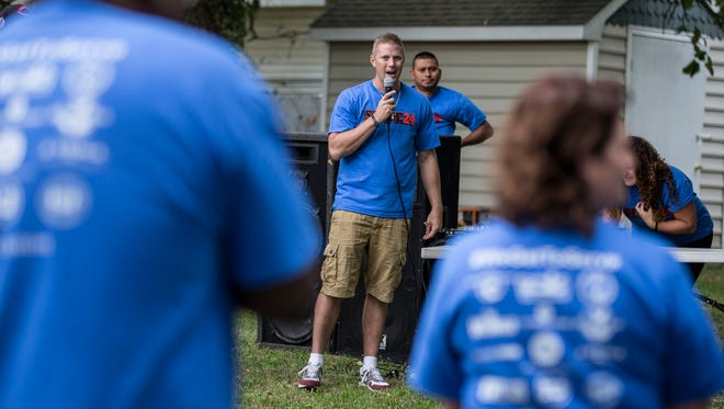 Founder Isaac Friedel speaks at the Jersey Shore Dream Center's community service drive during Labor Day weekend. Among other services, the Dream Center helps women who are recovering from addiction.