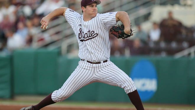 Mississippi State's Cole Gordon (24) releases a pitch. Mississippi State played Kentucky in a college baseball game on Saturday, April 8, 2017. Photo by Keith Warren/Mandatory Credit