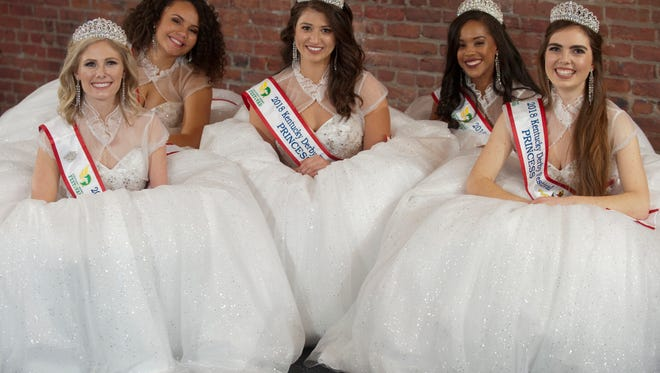 Posing in their ball gowns are Kentucky Derby Princesses (L-R) Tara Dunaway of Leitchfield, a junior at the University of Louisville, Louisvillian Logan Howard, a senior at the University of Kentucky, Katie Bouchard of Owensboro, a senior at Western Kentucky University.  Louisvillian Morgan Redmond, a senior at the University of Chicago and Louisvillian Caroline Will, a senior at the University of Kentucky, Jan. 07, 2018