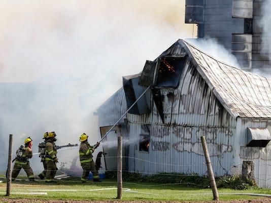 Barn fire on Wege Road in town of Center