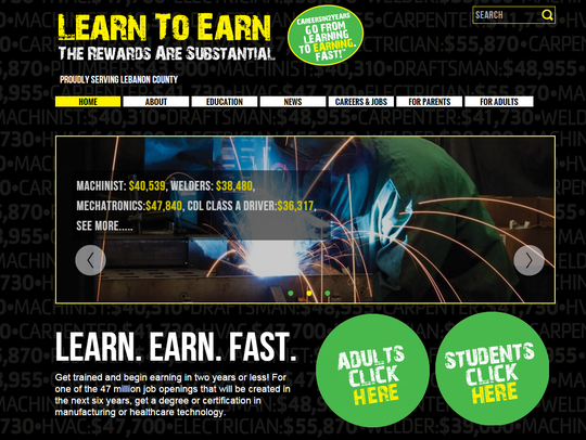 A screen shot of the Careers in Two Years website on