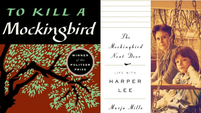 """Book covers of """"To Kill a Mockingbird"""" by Harper Lee and """"The Mockingbird Next Door""""  by Marja Mills."""