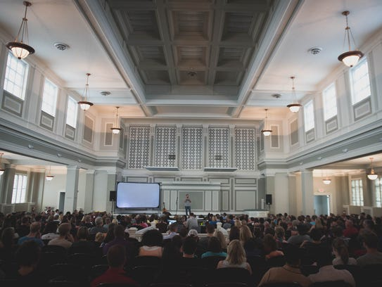 The interior of the 1,000-1,200-person auditorium of