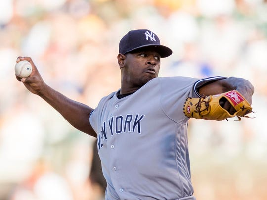 Yankees starting pitcher Luis Severino (40) struggled early, allowing four runs through two innings, but lasted through six innings against the Athletics at Oakland Coliseum on Friday, June 16, 2017.
