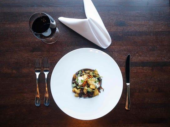 Crispy sage gnocchi with braised radicchio, pancetta,