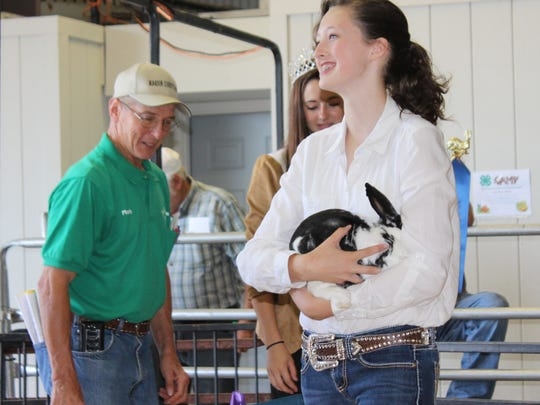 Anna Heimlich was the outstanding exhibitor in the rabbit class at the Marion County Fair.