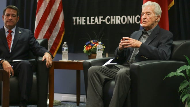 Senate District 22 candidate David Cutting, right, answers a question during a debate with opponent Mark Green at The Leaf-Chronicle on Friday afternoon. The debate was moderated by The Leaf-Chronicle's news director, Jake Lowary.