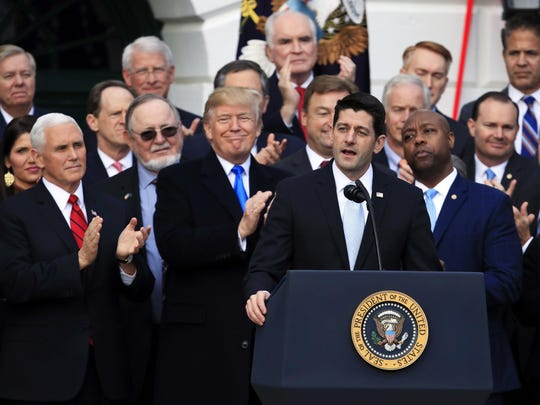 House Speaker Paul Ryan speaks during a White House rally Wednesday celebrating the passage of the Republican tax overhaul. Manuel Balce Ceneta/AP House Speaker Paul Ryan of Wis., speaks while President Donald Trump and Vice President Mike Pence, applaud during event marking passage of tax overhaul on the South Lawn at the White House in Washington, Wednesday, Dec. 20, 2017. (AP Photo/Manuel Balce Ceneta)