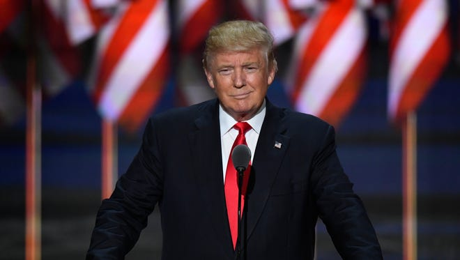 Donald Trump delivers his acceptance speech for the GOP nomination during the Republican National Convention on July 21, 2016.