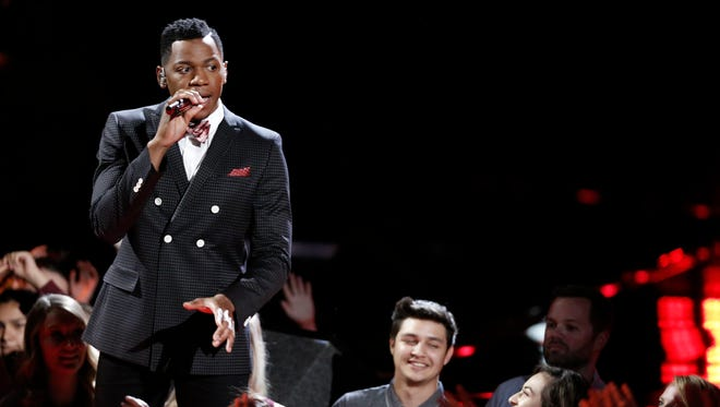 "Knoxville's Chris Blue performs in ""The Voice"" live playoffs Monday night."