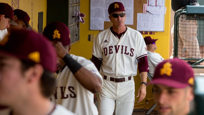 ASU head coach Tracy Smith in the dugout at Phoenix Municipal Stadium on May, 7, 2017.