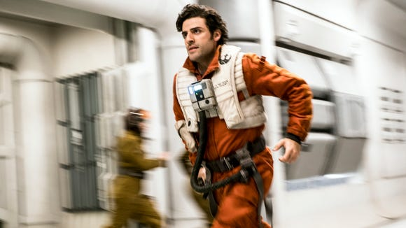 Poe Dameron (Oscar Isaac) rushes into the fight in