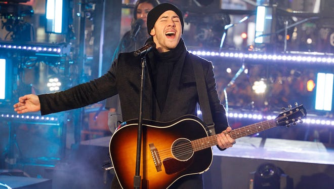 Nick Jonas performs during Dick Clark's New Year's Rockin' Eve at Times Square in New York City.