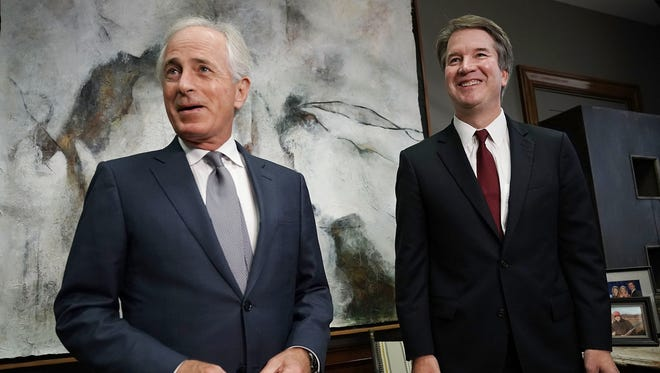 Sen. Bob Corker meets with Brett Kavanaugh in his office on Capitol Hill on July 18 in Washington.